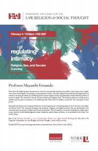 """Image of poster for event """"Regulating Intimacy: Religion, Sex, and Secular Cunning""""."""