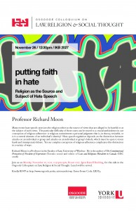 """Image of poster for event """"Putting Faith In Hate: Religion As The Source And Subject Of Hate Speech""""."""
