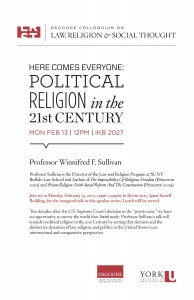 """Image of poster for event """"Here Comes Everyone: Political Religion in the 21st Century""""."""