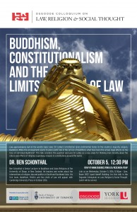 """Image of event poster """"Buddhism, Constitutionalism and the Limits of Law""""."""