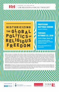 """Image describing the event """"Historicizing the Global politics of Religious Freedom""""."""