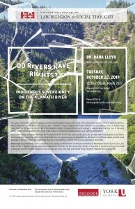 """Image contains picture of the poster event. It has the title """"Do Rivers Have Rights? Indigenous Sovereignty on the Klamath River"""" and text describing the event as well as who is hosting the event and giving the talk."""
